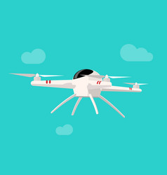flying drone isolated on blue vector image