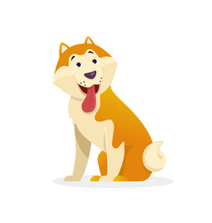 funny dog with tongue wags tail sitting vector image