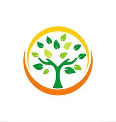 hand tree ecology plant logo vector image