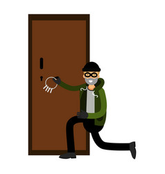Professional burglar character breaks the door vector