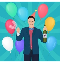 Smiling handsome man holding holding champagne and vector image vector image