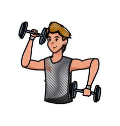 sport man dumbbell strong workout weight draw vector image vector image
