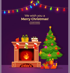 christmas room interior in colorful cartoon flat vector image vector image