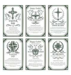 easter cross religious poster and banner set vector image