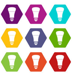 led bulb icon set color hexahedron vector image