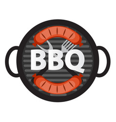 Bbq icon with grill tools and sausage vector