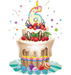 Happy Birthday cake 6 vector image vector image