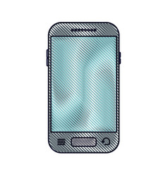 smartphone front view icon in colored crayon vector image vector image