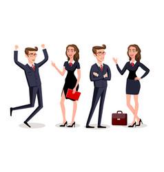 business people teamwork cartoon character vector image