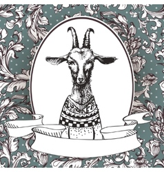 Hand drawn portrait of hipster goat vector