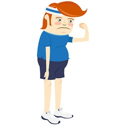 Hipster upset man showing biceps flat style vector