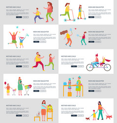 mom and children web page vector image