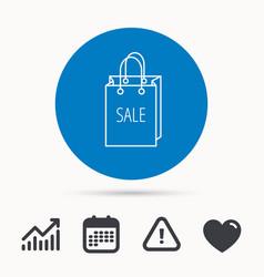 sale shopping bag icon discount handbag sign vector image