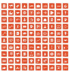 100 e-commerce icons set grunge orange vector