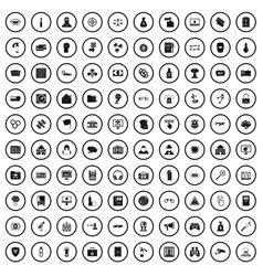100 hacking icons set simple style vector
