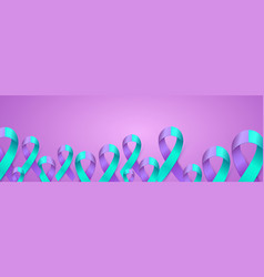 3d purple blue ribbon card to suicide prevention vector