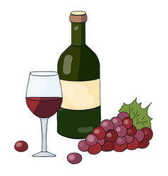 a bottle of red wine a glass of wine and grapes o vector image