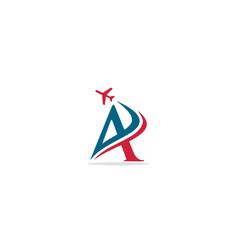 A initial plane travel logo vector