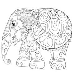 adult coloring bookpage a cute little elephant vector image