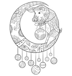 adult coloring bookpage a cute pig on the moon vector image