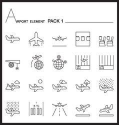 Airport element line icon set 1mono pack vector