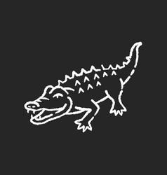 Alligator chalk white icon on black background vector