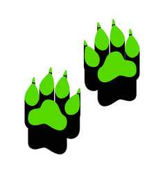 Animal tracks sign green 3d icon with vector
