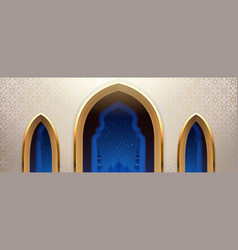 Arab mosque with windows or arabic church wall vector