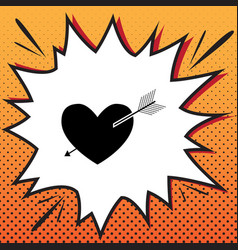 arrow heart sign comics style icon on pop vector image