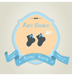 Baby shower invitation with socks for baby boy vector