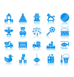 Baby toy color silhouette icons set vector
