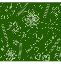 Back to school chalk-drawn seamless pattern vector