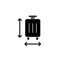 Baggage size black glyph icon vector