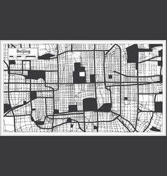 Beijing china city map in black and white color vector