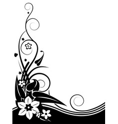 black and white silhouette a vintage ornament vector image
