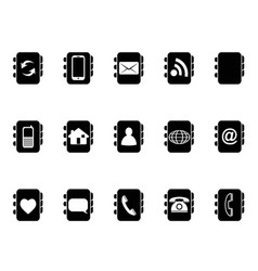 Black phone address book icons vector