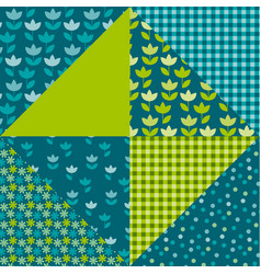 blue and green color tulip flower and geometry vector image