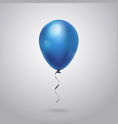 blue balloon with ribbon isolated on grey vector image