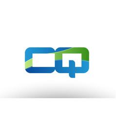 Blue green cq c q alphabet letter logo vector