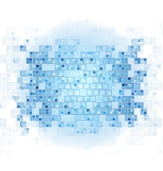 Blue tech squares on white background vector