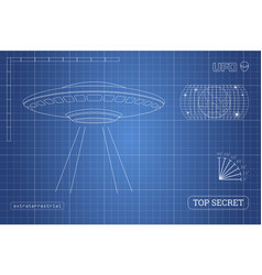 blueprint of ufo technical document vector image