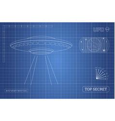 Blueprint of ufo technical document vector