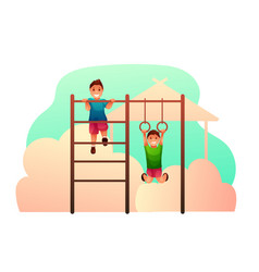 boys on climber and gymnastic rings vector image