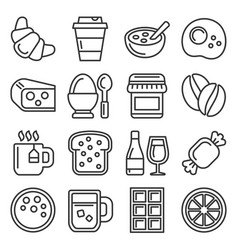 breakfast icons set on white background line vector image