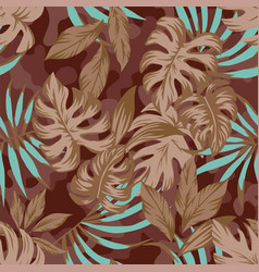 Brown leaves on camo background vector