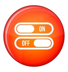 Button on and off icon flat style vector