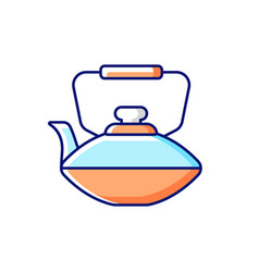 Chinese iron teapot rgb color icon vector