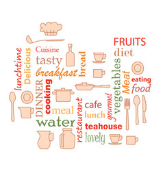 Colorful - word collage for kitchen vector
