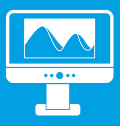 computer monitor with photo on screen icon white vector image