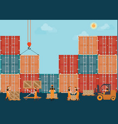 containers with crain and workers working to vector image